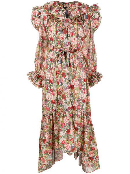Sukienka midi z falbanami z długimi rękawami z paskiem Horror Vacui