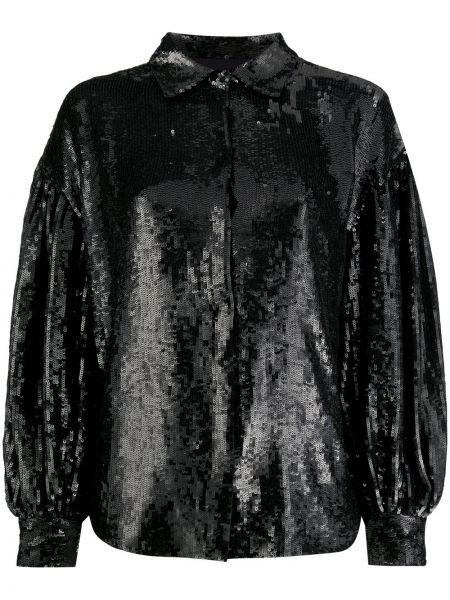 Прямая блузка с длинным рукавом с пайетками с воротником с драпировкой P.a.r.o.s.h.