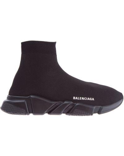 Высокие кроссовки трикотажные с принтом Balenciaga