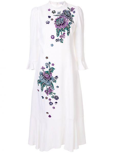 Платье миди с вышивкой с воротником свободного кроя с вырезом Andrew Gn