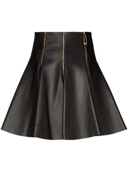 Черная расклешенная с завышенной талией юбка мини из натуральной кожи Versace