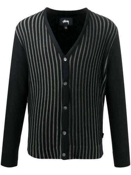 Bawełna bawełna czarny kardigan z długimi rękawami Stussy