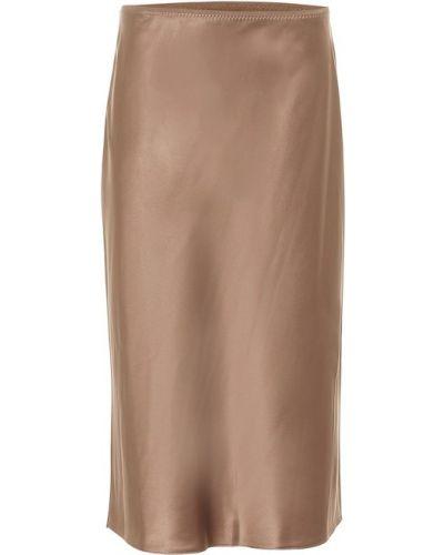 Коричневая сатиновая юбка миди Joseph