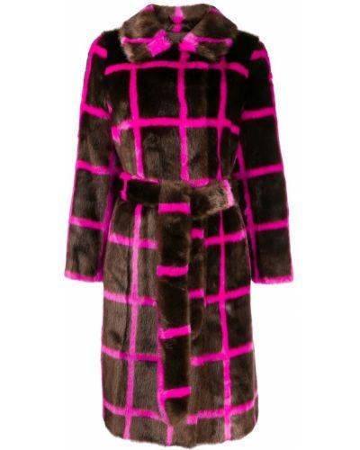 Розовое длинное пальто из искусственного меха с поясом Stand
