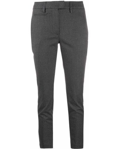 Брючные черные укороченные брюки с поясом Dondup