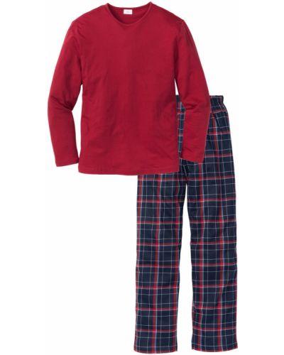 Пижама в клетку красный Bonprix