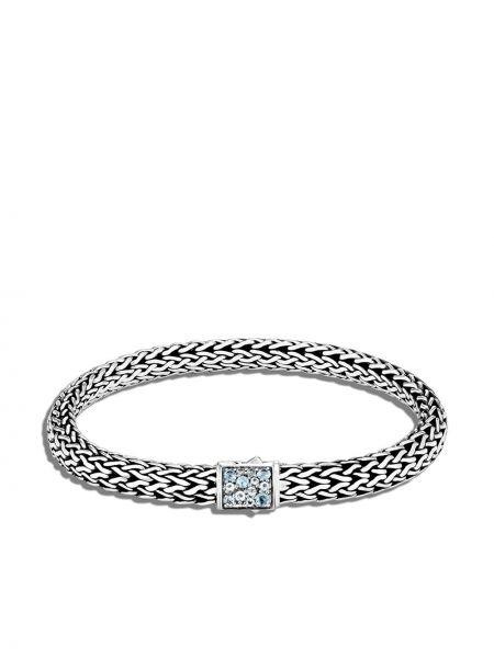 Czarna bransoletka łańcuch srebrna szafir John Hardy