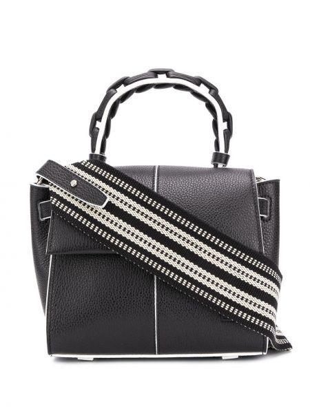 Кожаная черная маленькая сумка с карманами Elena Ghisellini