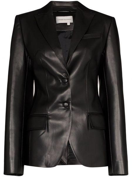 Однобортный черный кожаный пиджак Aleksandre Akhalkatsishvili