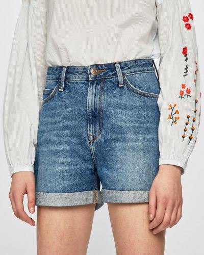 Джинсовые шорты с завышенной талией голубой Lee