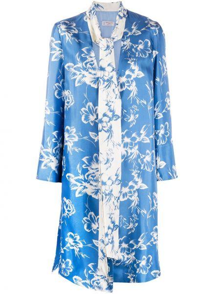 Синее длинное пальто с капюшоном с разрезами по бокам Alberto Biani