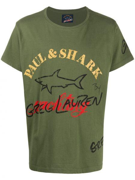 Лонгслив с принтом - зеленая Paul & Shark