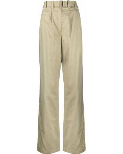 Zielone spodnie z wysokim stanem bawełniane Lemaire
