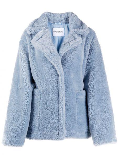 Синее шерстяное длинное пальто с потайной застежкой Stand