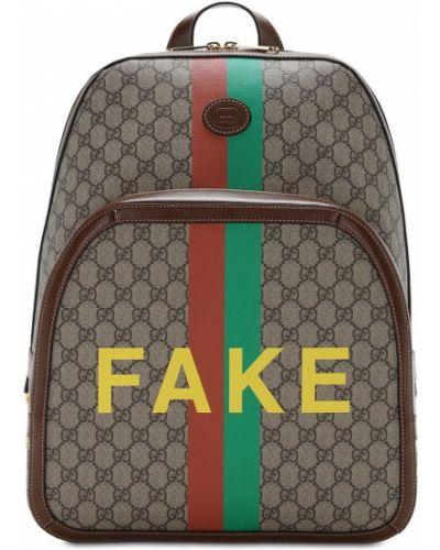 Skórzany z paskiem plecak na paskach Gucci