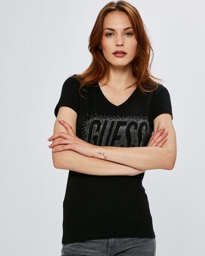 Черная футболка облегающая Guess Jeans
