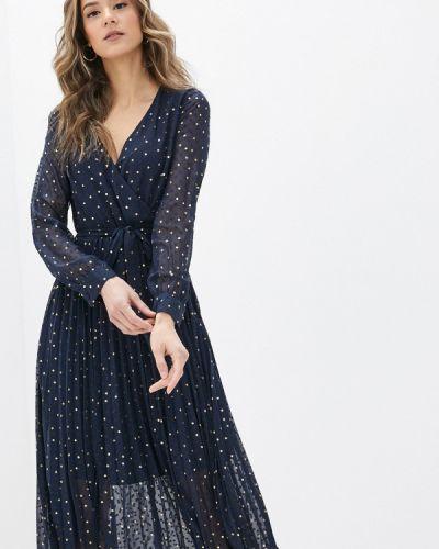 Синее платье с запахом Yumi