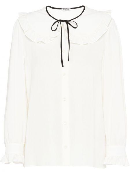Шелковая прямая блузка с воротником на пуговицах Miu Miu