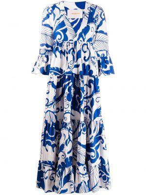 Платье миди каскадное с V-образным вырезом с рисунком на молнии La Doublej
