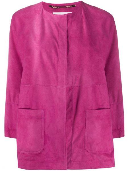 Розовая кожаная куртка круглая Manzoni 24