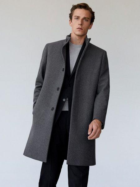 Серое шерстяное пальто с воротником Mango Man
