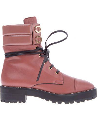 Ботинки на шнуровке кожаные на каблуке Stuart Weitzman