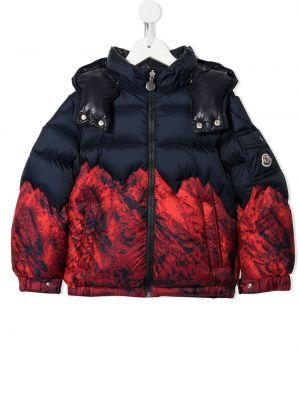 Синее пальто классическое с капюшоном на молнии Moncler Kids