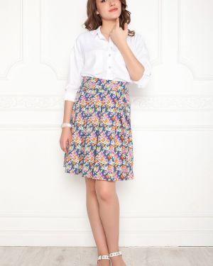 Джинсовая юбка с завышенной талией с цветочным принтом Lautus