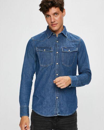 Джинсовая рубашка однотонная с длинным рукавом G-star Raw