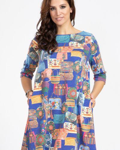 Повседневное с рукавами трикотажное платье прима линия