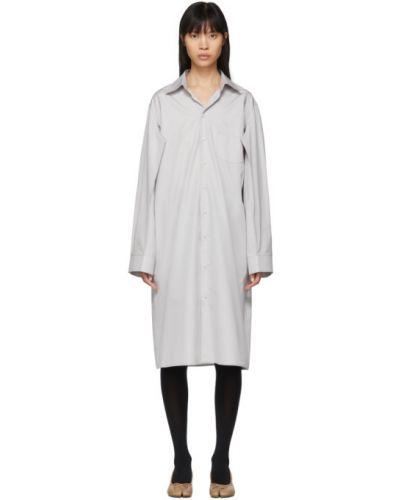Хлопковое белое платье макси с длинными рукавами с воротником Maison Margiela
