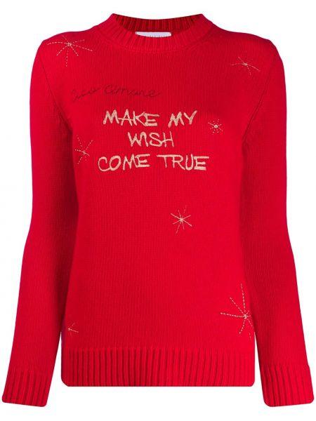 Шерстяной красный свитер в рубчик с вышивкой Giada Benincasa