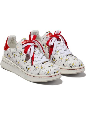 Biały koronkowa skórzane sneakersy na sznurowadłach na pięcie Marc Jacobs