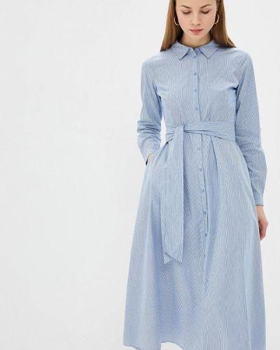 Платье платье-рубашка синее Unq