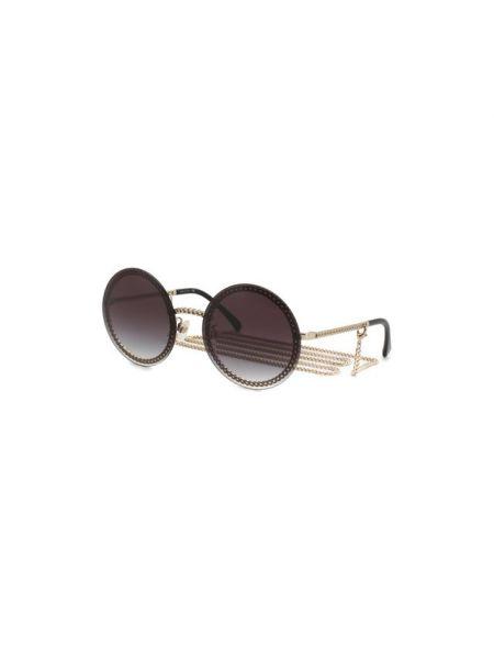 Солнцезащитные очки круглые металлические Chanel