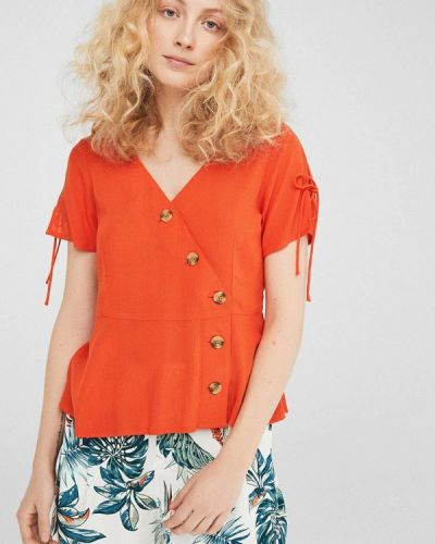 Оранжевая блузка с коротким рукавом Springfield