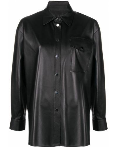 Черная классическая рубашка с воротником свободного кроя на кнопках Arma