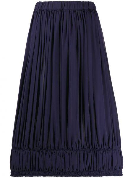Синяя юбка миди с поясом с высокой посадкой Comme Des Garçons