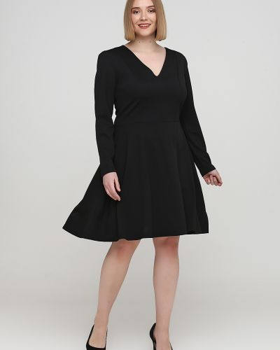 Черное платье макси с вырезом из плотной ткани Naoko