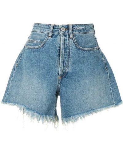 С завышенной талией хлопковые синие джинсовые шорты Marcelo Burlon. County Of Milan