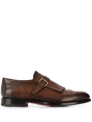 Коричневые кожаные монки на каблуке Santoni