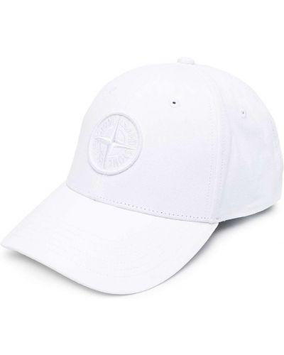 Хлопковая белая кепка с вышивкой Stone Island