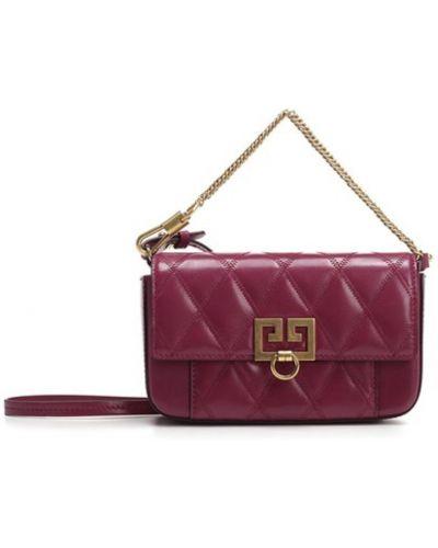 Fioletowa kopertówka z paskiem skórzana Givenchy