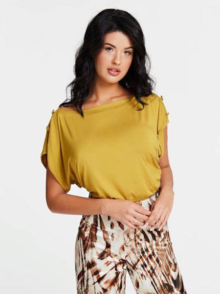 Żółta bluzka nietoperze z wiskozy Guess