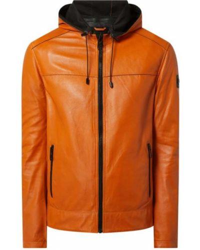 Pomarańczowa kurtka skórzana z kapturem Milestone