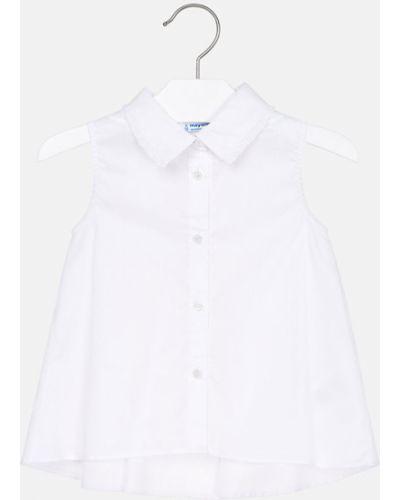 Блуза белая на пуговицах Mayoral
