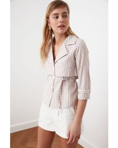 Beżowa koszula bawełniana z paskiem Trendyol