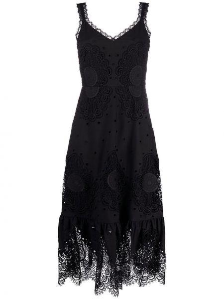 Черное платье с вышивкой с V-образным вырезом из вискозы Temperley London