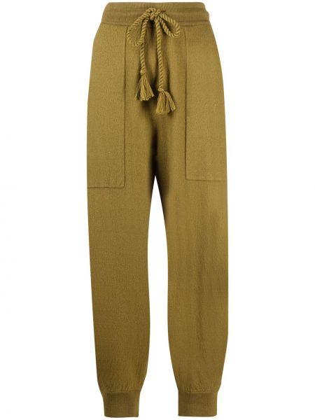 Зеленые укороченные брюки с карманами с манжетами Ulla Johnson