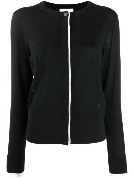 Шерстяное черное длинное пальто с вырезом Salvatore Ferragamo